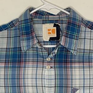 Boss Orange Mens Designer Shirt LS Blue Plaid LG